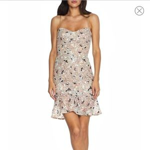 NWT Dress the Population Sequin Floral Minidress